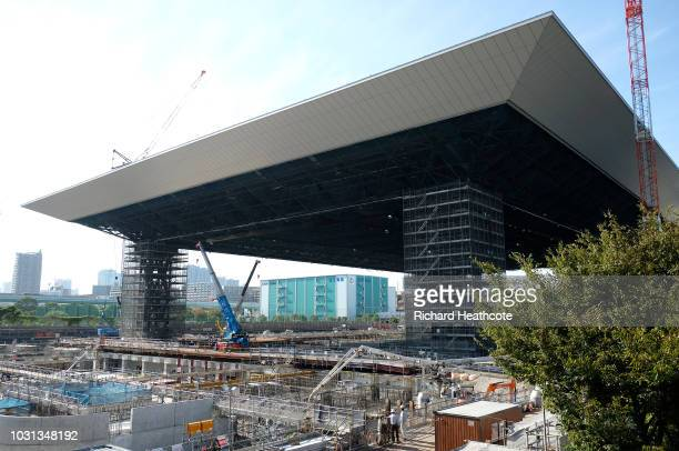 A view of the Olympic Aquatics Centre under construction during the First World Press Briefing for the Tokyo 2020 Summer Olympics on September 05...