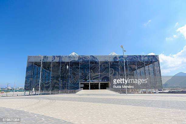 A view of the Olympic Aquatics Stadium during the inauguration which was attended by the President Dilma Rousseff at the Barra Olympic Park on April...