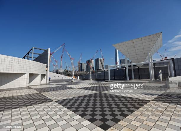 View of the Olympic Athletes Village under construction during the First World Press Briefing for the Tokyo 2020 Summer Olympics on September 05,...