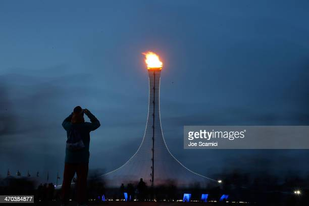 A view of the Olympic Flame in the Olympic Cauldron in the Olympic park on February 19 2014 in Sochi Russia