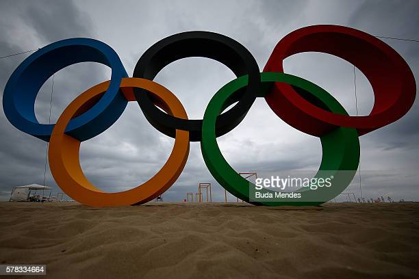 View of the Olympic Rings after its inauguration ceremony at the Copacabana Beach ahead 2016 Rio Olympics on July 21 2016 in Rio de Janeiro Brazil