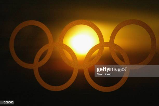 A view of the olympic rings during the Salt Lake City Winter Olympic Games on February 15 2002 in Salt Lake City Utah