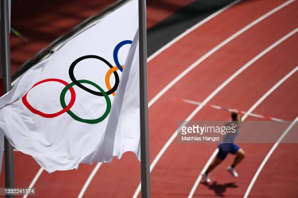 View of the Olympic rings flag during the Men's Javelin Throw Qualification on day twelve of the Tokyo 2020 Olympic Games at Olympic Stadium on...