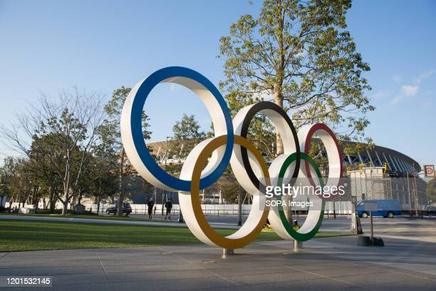 View of the Olympic Rings near the new National Stadium in Kasumigaoka Shinjuku Tokyo Japan The stadium will serve as the main stadium for the...