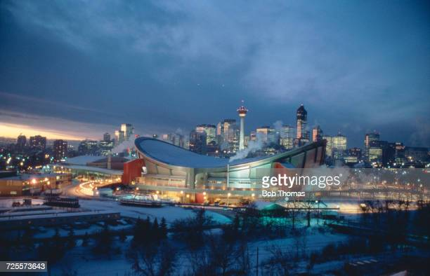 View of the Olympic Saddledome at dusk, host venue for figure skating and ice hockey events at the 1988 Winter Olympics at Canada Olympic Park in...