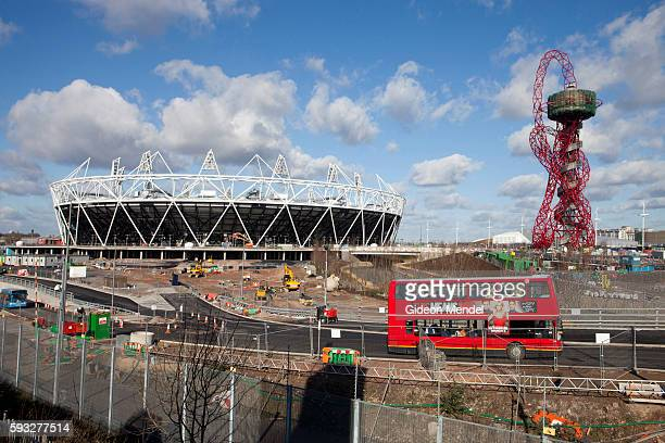 A view of the Olympic stadium and the ArcelorMittal Orbit tower taken from the public viewing platform at the Viewtubevenue at the centre of the site...