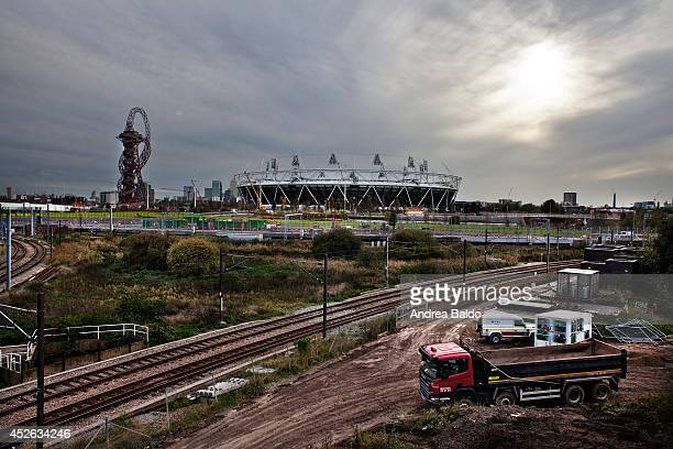 A view of the Olympic Stadium and the Orbit Tower in the Olympic Park in Stratford East London