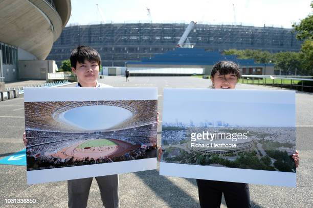 A view of the Olympic stadium under construction during the First World Press Briefing for the Tokyo 2020 Summer Olympics on September 05 2018 in...
