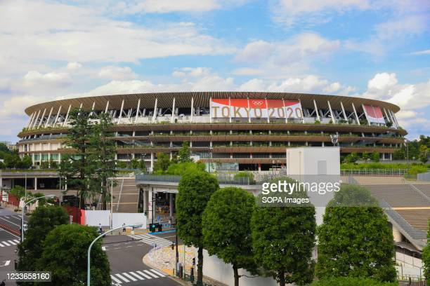 View of the Olympic Stadium with Tokyo 2020 Olympic Games branding.