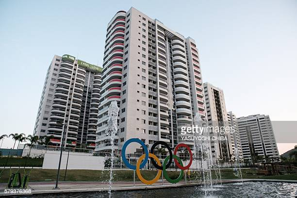 View of the Olympic symbol in front of the balconies of the French team's apartments at the Olympic and Paralympic Village for the 2016 Rio Olympic...