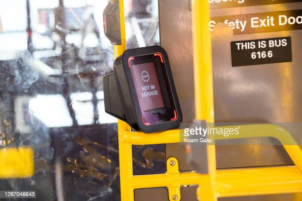 View of the OMNY contactless fare payment system inside an MTA bus as the city continues Phase 4 of re-opening following restrictions imposed to slow...