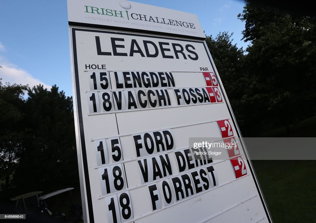 A view of the on course leader board during the first round of the 2017 Irish Challenge at Mount Wolseley Hotel Spa and Golf Resort on September 14, 2017 in Carlow, Ireland.