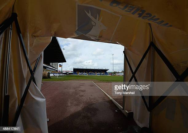 View of the One Call Stadium, home of Mansfield Town FC from the players tunnel before the Sky Bet League Two match between Mansfield Town and...