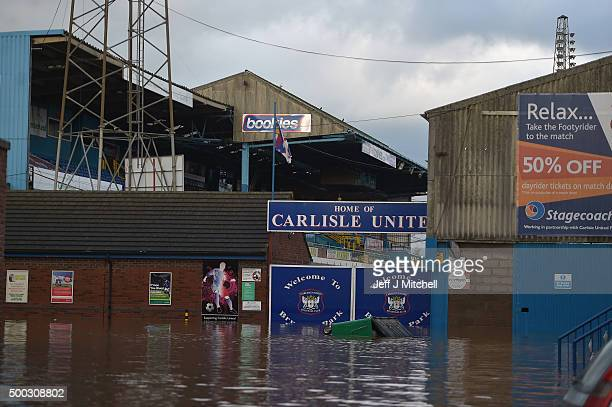 A view of the one of the entrances to Carlisle United football ground near where rescue workers continue to evacuate people from their homes after...