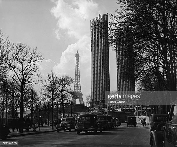 View of the one of the main gates into the World's Fair ground Paris Framce 1937 Visible in the distance is the Eiffel Tower which had been built in...