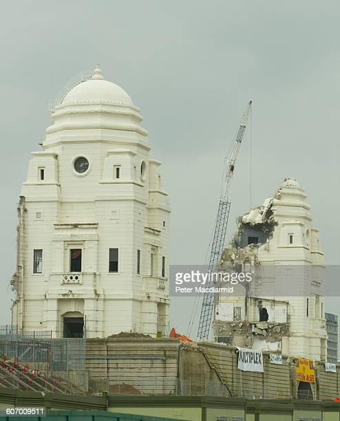 View of the ongoing demolition of the twin towers at the original Wembley Stadium London England February 8 2003