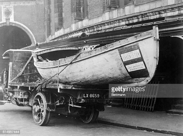 A view of the only relic of Sir Ernest Shackleton's Endurance The relic is shown outside of Albert Hall in London where Sir Ernest gave a series of...