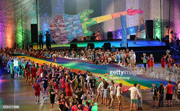A view of the opening ceremony of the Gay Games 2014 at Quicken Loans Arena on August 9 2014 in Cleveland Ohio