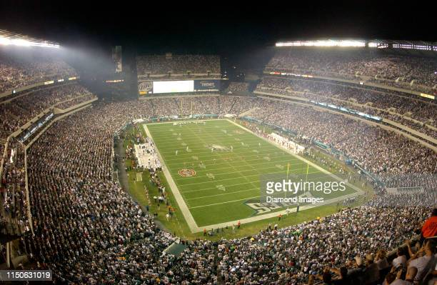 View of the opening kickoff of a game between the Tampa Bay Buccaneers and Philadelphia Eagles on September 8, 2003 at Lincoln Financial Field in...