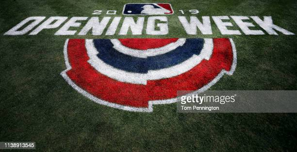 A view of the Opening Week logo on the field prior to the Texas Rangers taking on the Chicago Cubs during Opening Day at Globe Life Park in Arlington...