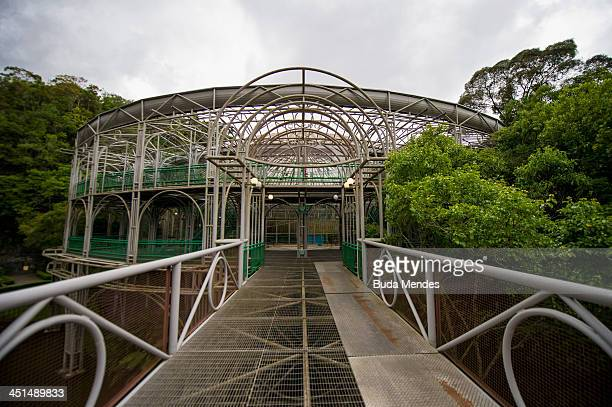 A view of the Opera de Arame or the Wire Opera House a theatre house built out of steel tubes situated in the middle of an urban green park Parque...