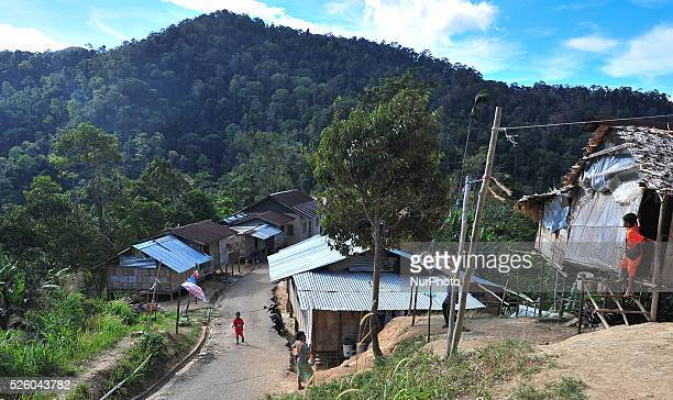 A view of the Orang Asli tribe village the indigenous minority peoples of Peninsular Malaysia watch the fourth stage of the Tour de Langkawi 2016 the...