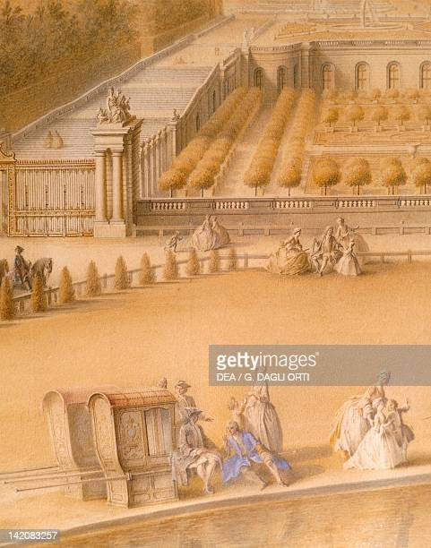 View of the Orangerie and the castle of Versailles by AS Portail France 17th18th Century Detail