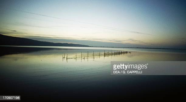 View of the Orbetello Lagoon Nature Reserve, Tuscany, Italy.