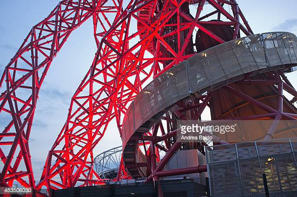 A view of the Orbit Tower in the Olympic Park in Stratford East London