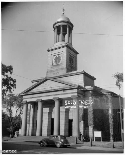A view of the Original Church on this site scene of the First Continental Congress in Concord Massachusetts Circa 1950