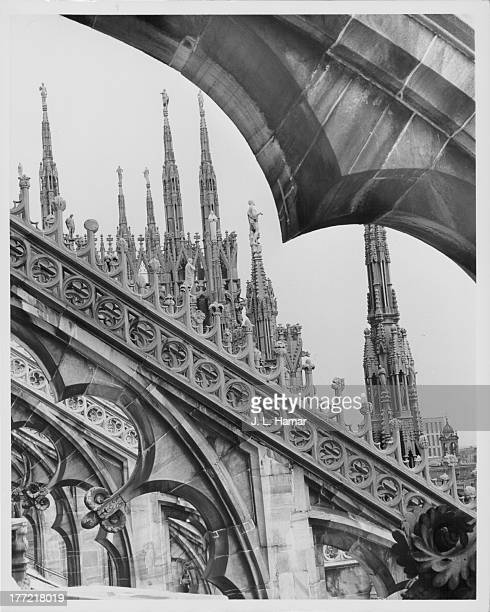 A view of the ornate upper tier of Milan Cathedral circa 19201960