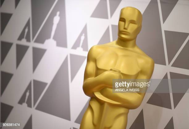 TOPSHOT A view of the Oscar Statue during preparations for the 90th annual Academy Awards week in Hollywood California on March 2 2018