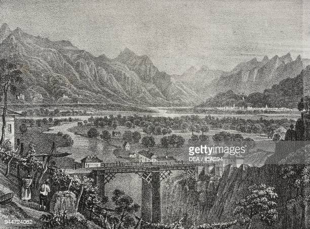 View of the Ossola Valley from Sempione Piedmont Italy lithograph by Salvatore Puglia from Poliorama Pittoresco n 28 February 18 1843
