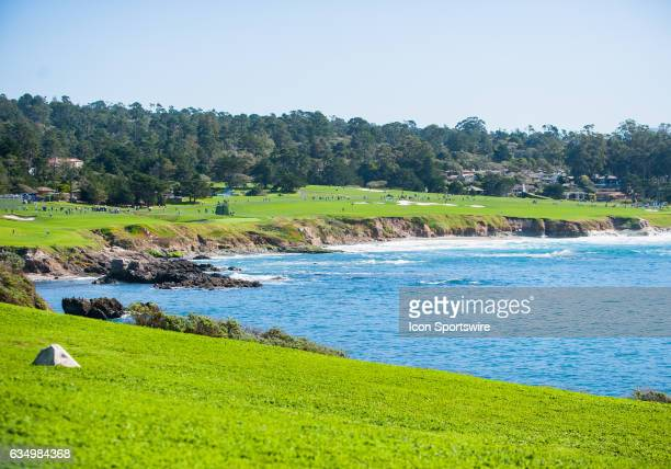 A view of the other holes on the peninsula during the final round on February 12 at Pebble Beach Golf Links in Pebble BeachCA