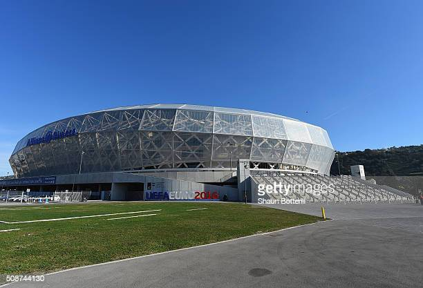 A view of the outside at Allianz Riviera Stadium on February 5 2016 in Nice France