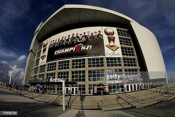 A view of the outside of American Airlines Arena showing a banner celebrating the Miami Heat's 2006 NBA Championship before the Chicago Bulls take on...