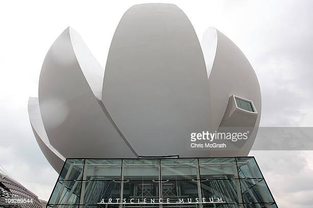 A view of the outside of the ArtScience Museum on February 19 2011 at Marina Bay Sands Singapore The ArtScience Museum opened for the first time to...