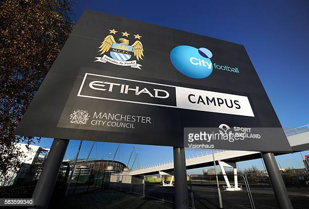 A view of the outside of the Etihad Stadium home of Manchester City Football Club at Sportcity Eastlands in Manchester UK Photo Visionhaus/Gary Prior