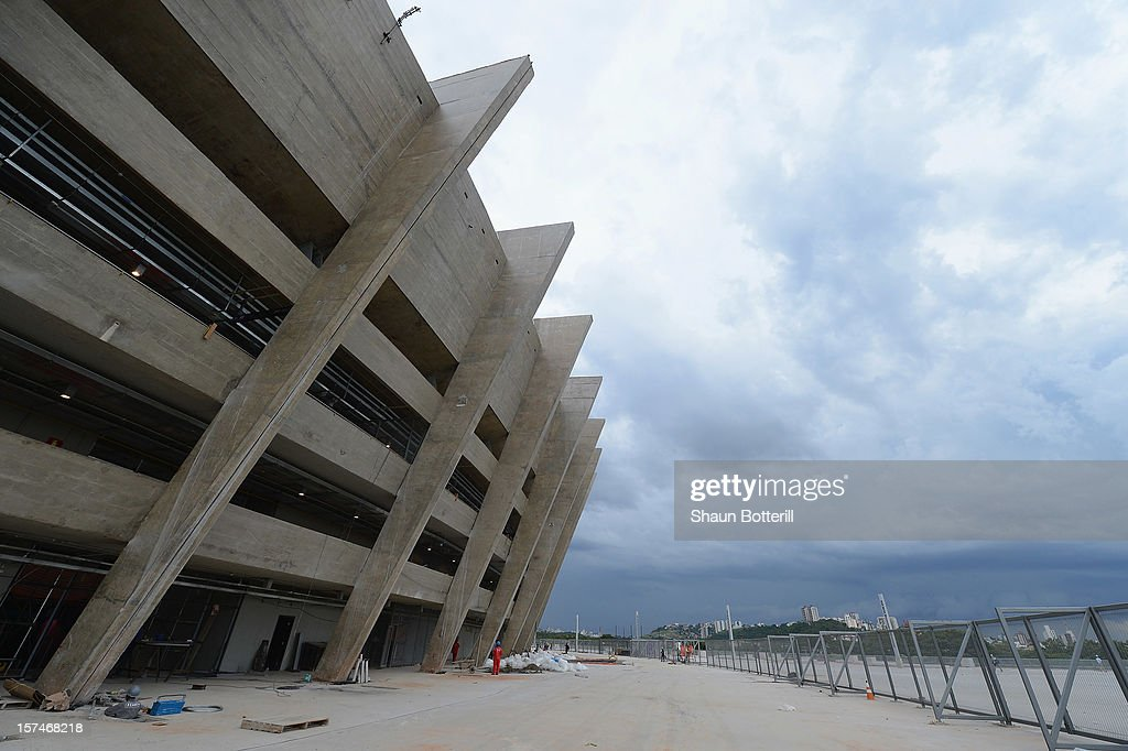 A view of the outside of the Mineirao Stadium, venue for the 2014 FIFA World Cup on December 3, 2012 in Belo Horizonte, Brazil.