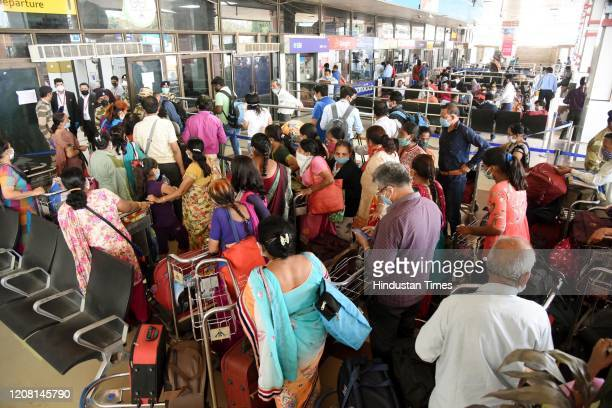 A view of the overcrowded Patna airport during the second day of lockdown imposed by the state government to curb the spread of coronavirus on March...