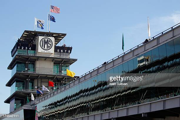 A view of the pagoda on the frontstretch during practice for the NASCAR Sprint Cup Series Samuel Deeds 400 At The Brickyard at Indianapolis Motor...