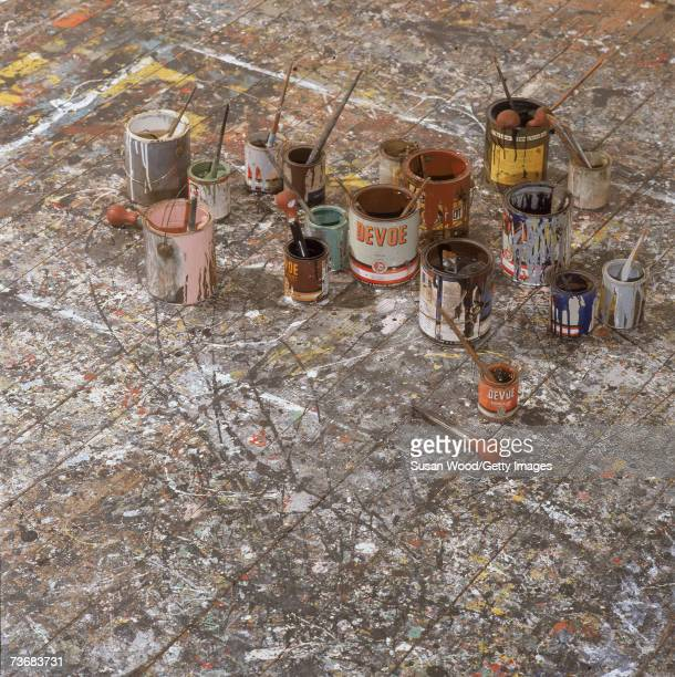 View of the paintsplattered floor of an art studio used by American artist Jackson Pollock East Hampton New York April 1991