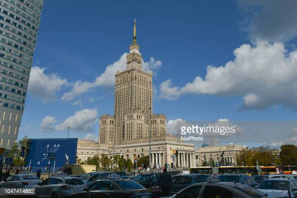 A view of the Palace of Culture and Science in the background On Monday October 5 in Warsaw Poland