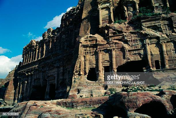 View of the Palace tomb and the Corinthian tomb Royal tombs ancient city of Petra Jordan Nabatean civilisation 6th century BC2nd century AD