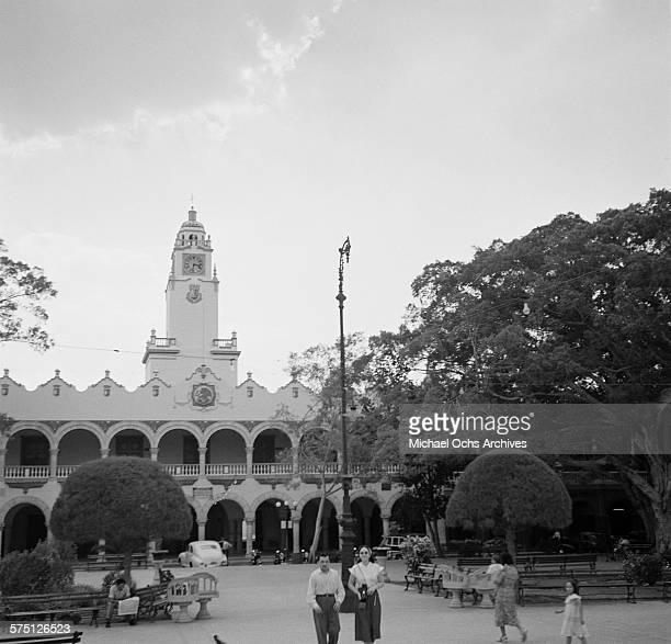 A view of the Palacio Municipal frente a la Plaza Principal in Merida Mexico