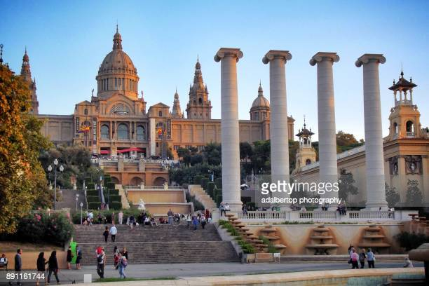 View of The Palau Nacional de Montjuic. Barcelona, Catalonia, Spain.