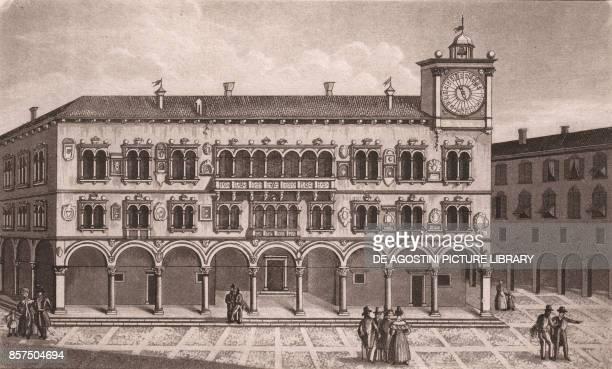 View of the Palazzo dei Rettori in Belluno Veneto Italy aquatint 195x117 cm from Viaggio in Italia per Francesco Gandini ovvero descrizione...