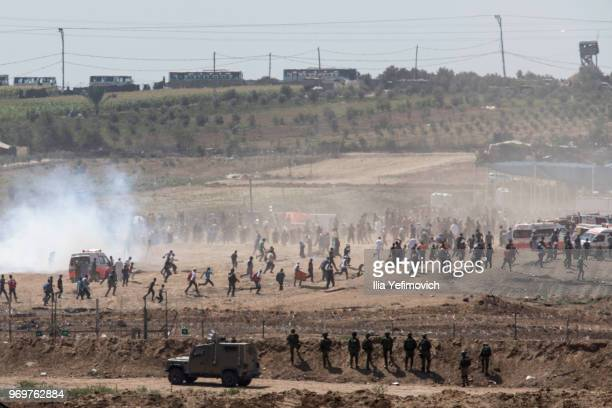 A view of the Palestinian protest on the IsraelGaza border on June 8 2018 in Nahal Oz area Israel Naksa is Arabic for setback Naksa Day is the...