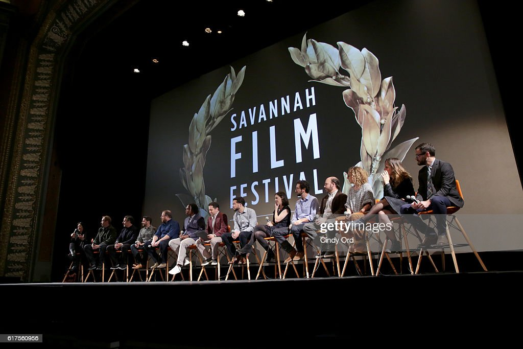 A view of the panel onstage during the Docs to Watch Panel during the 19th Annual Savannah Film Festival presented by SCAD on October 23, 2016 in Savannah, Georgia.