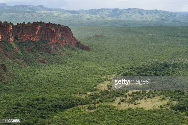 View of the Pantanal from the Cidade de Pedra viewpoint in the Chapada dos Guimaraes national park Mato Grosso state western Brazil on January 30...